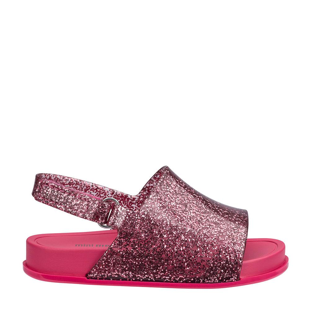 Mini Melissa Beach Slide Sandal Rosa Glitter Sua Loja