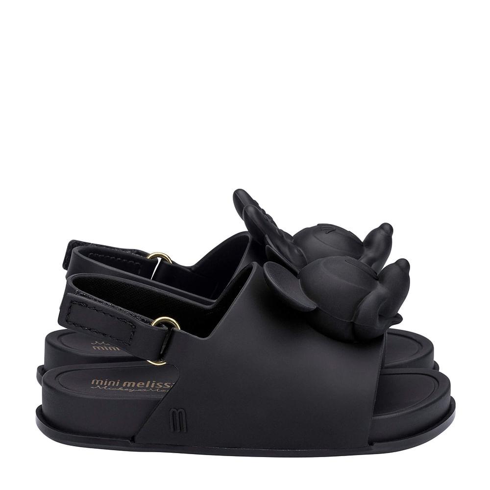9f4ed5c30 Mini Melissa Beach Slide Sandal + Disney Preto Opaco