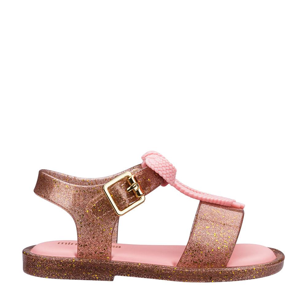 d253545681 Mini Melissa Mar Sandal Ouro Glitter Rosa