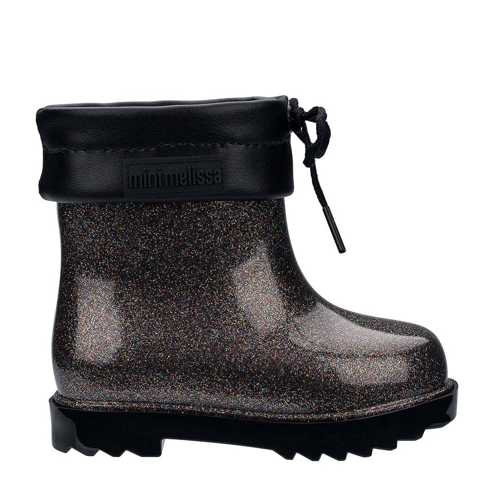 c6f52dea60e Mini Melissa Rain Boot Preto Vidro Glitter Multicor