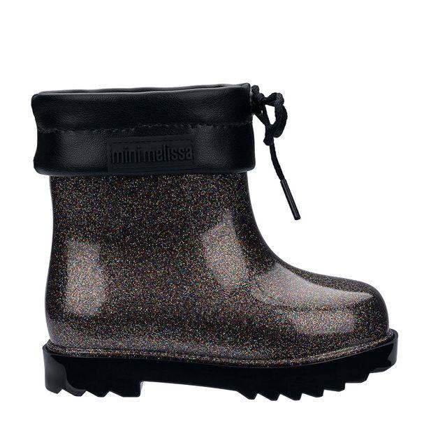 5491ac34ea9 Mini Melissa Rain Boot Preto Vidro Glitter Multicor