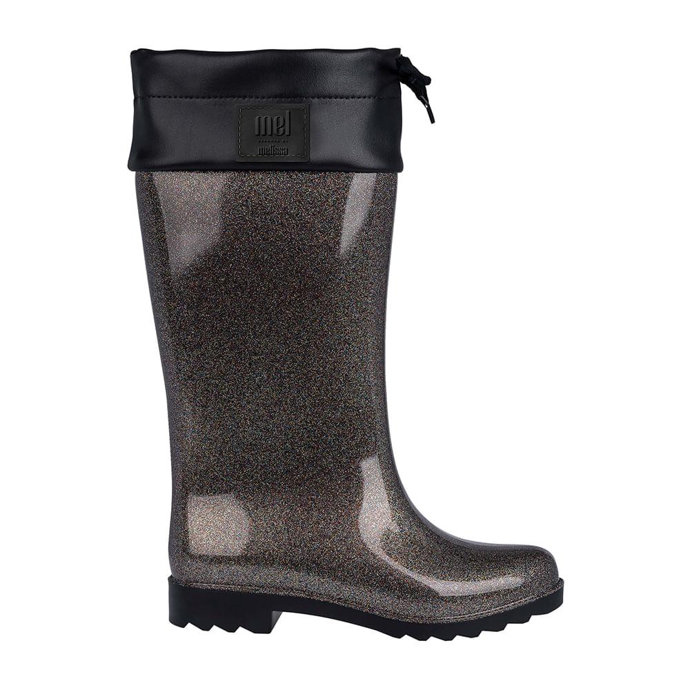 47e64c43dbf Melissa Mel Rain Boot Preto Glitter Multicor