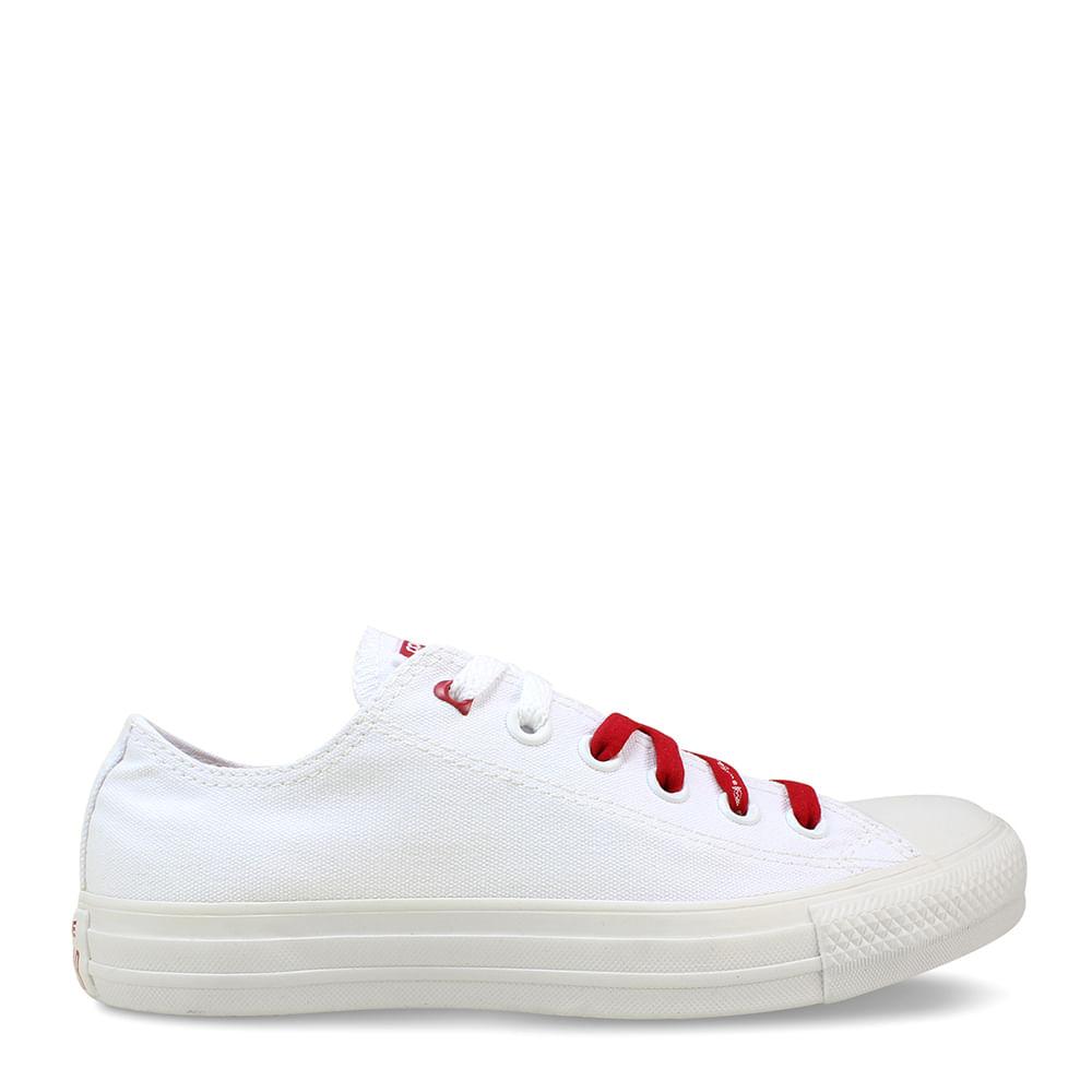 ee8e3214c5 Tênis Chuck Taylor All Star Branco Vermelho Amendoa