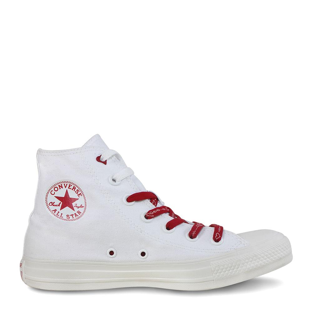 ab94824253 Tênis Chuck Taylor All Star Branco Vermelho Amendoa