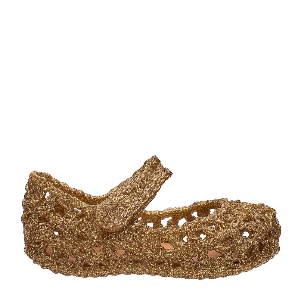 Mini Melissa Campana Crochet Vidro Glitter Ouro  44ce9f7e31e
