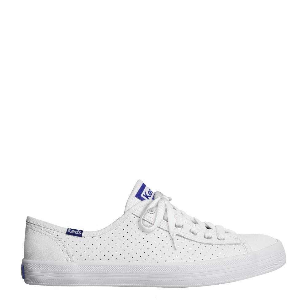 87271e754 Tênis Keds Kickstart Perf Leather Branco Blue | Sua Loja Keds - Menina Shoes