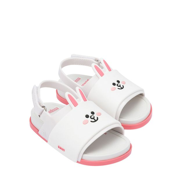 32919-Mini-Melissa-Beach-Slide-Sandal-Line-Friends-BrancoRosa-Variacao1