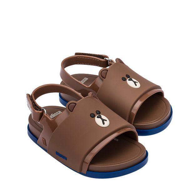 32919-Mini-Melissa-Beach-Slide-Sandal-Line-Friends-MarromAzul-Variacao1