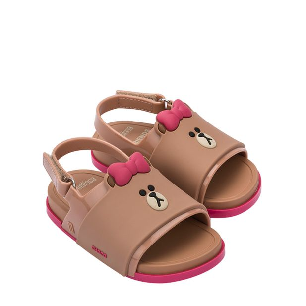 32919-Mini-Melissa-Beach-Slide-Sandal-Line-Friends-MarromRosa-Variacao1